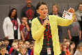 school counselor holding up card that says humility