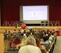 principal heller talking to students at freshman orienation