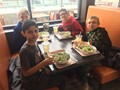 students eating at core life eatery
