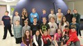 students in front of portable planetarium
