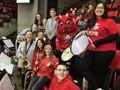 pep band with binghamton devils mascot