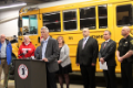 press conference in chenango valley bus garage