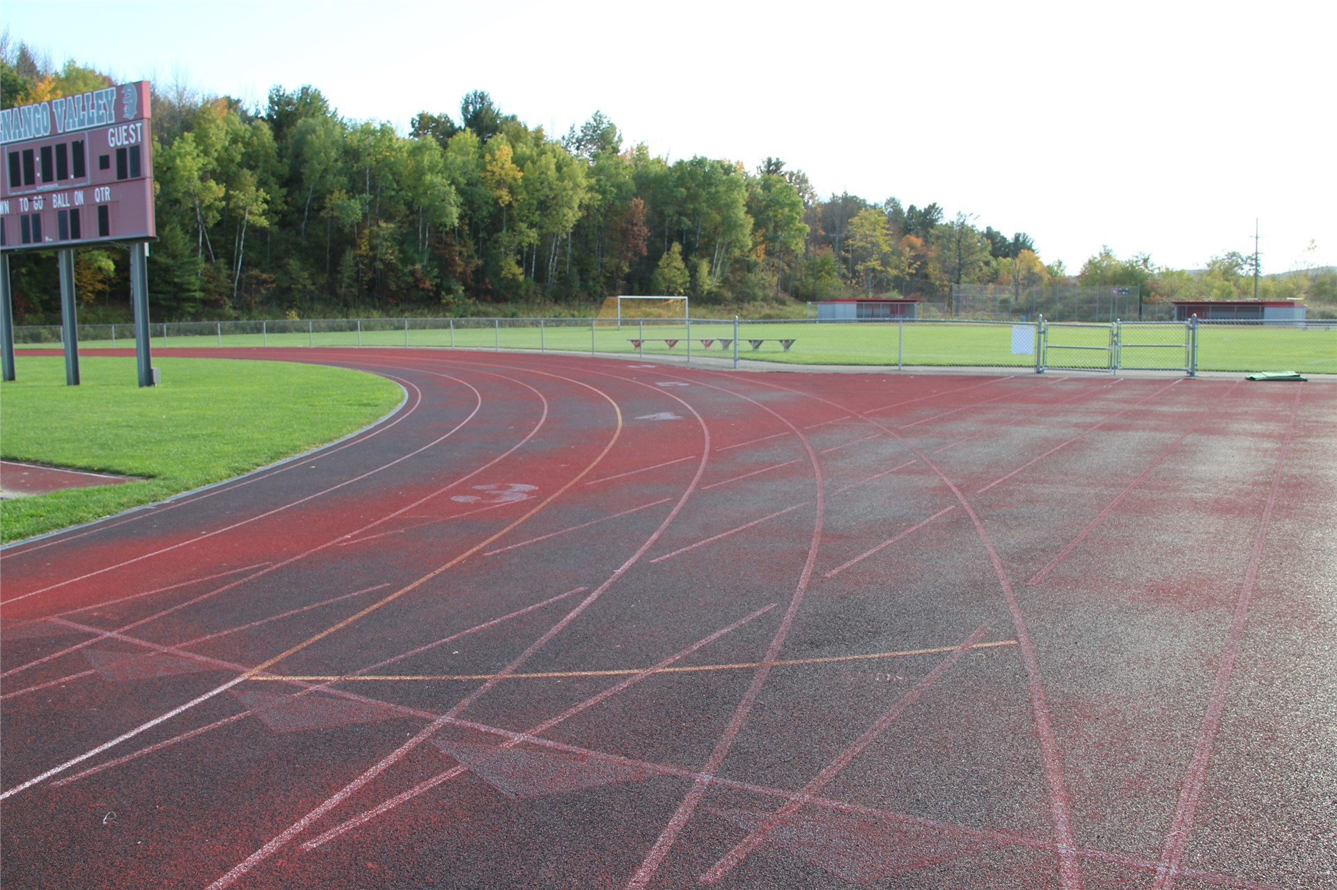 wide shot of track outdoors
