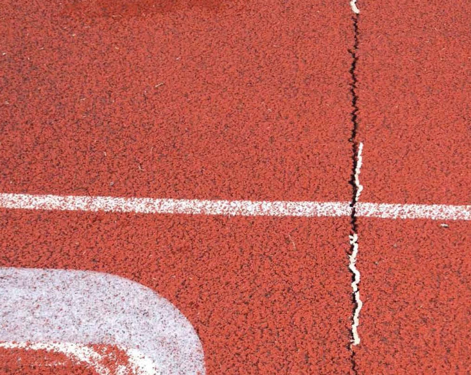 close up of crack in track