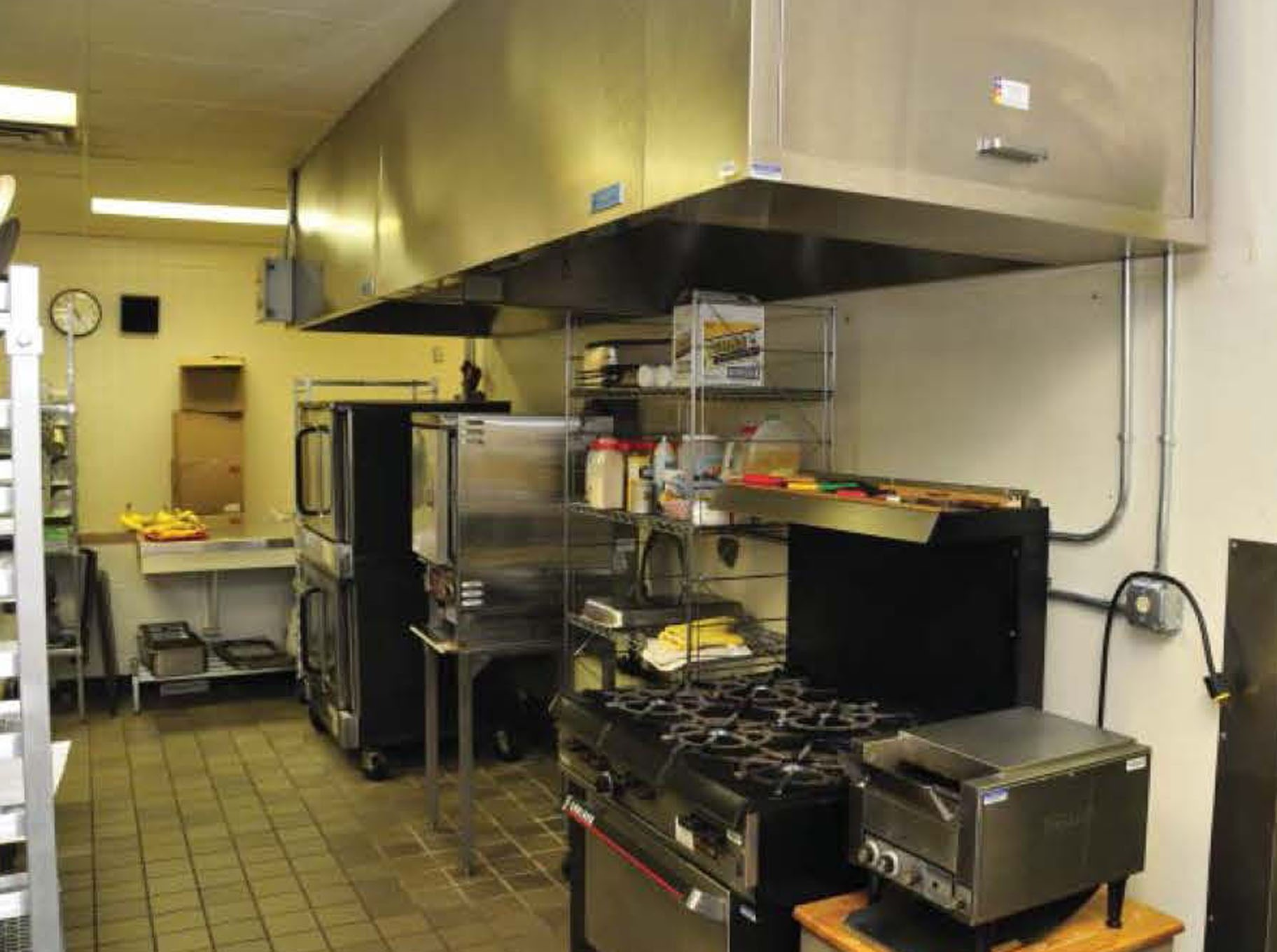 wide shot of kitchen area