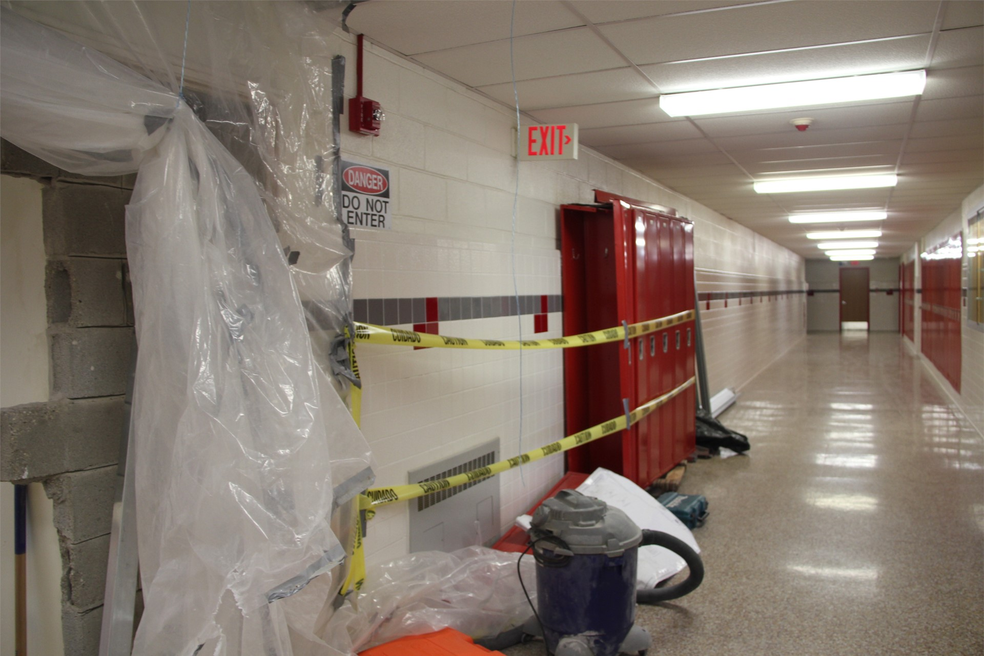 wide shot of construction area in hallway