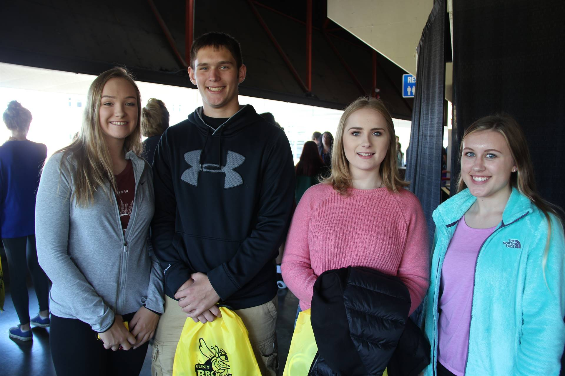 chenango valley high school group of students smile at college day