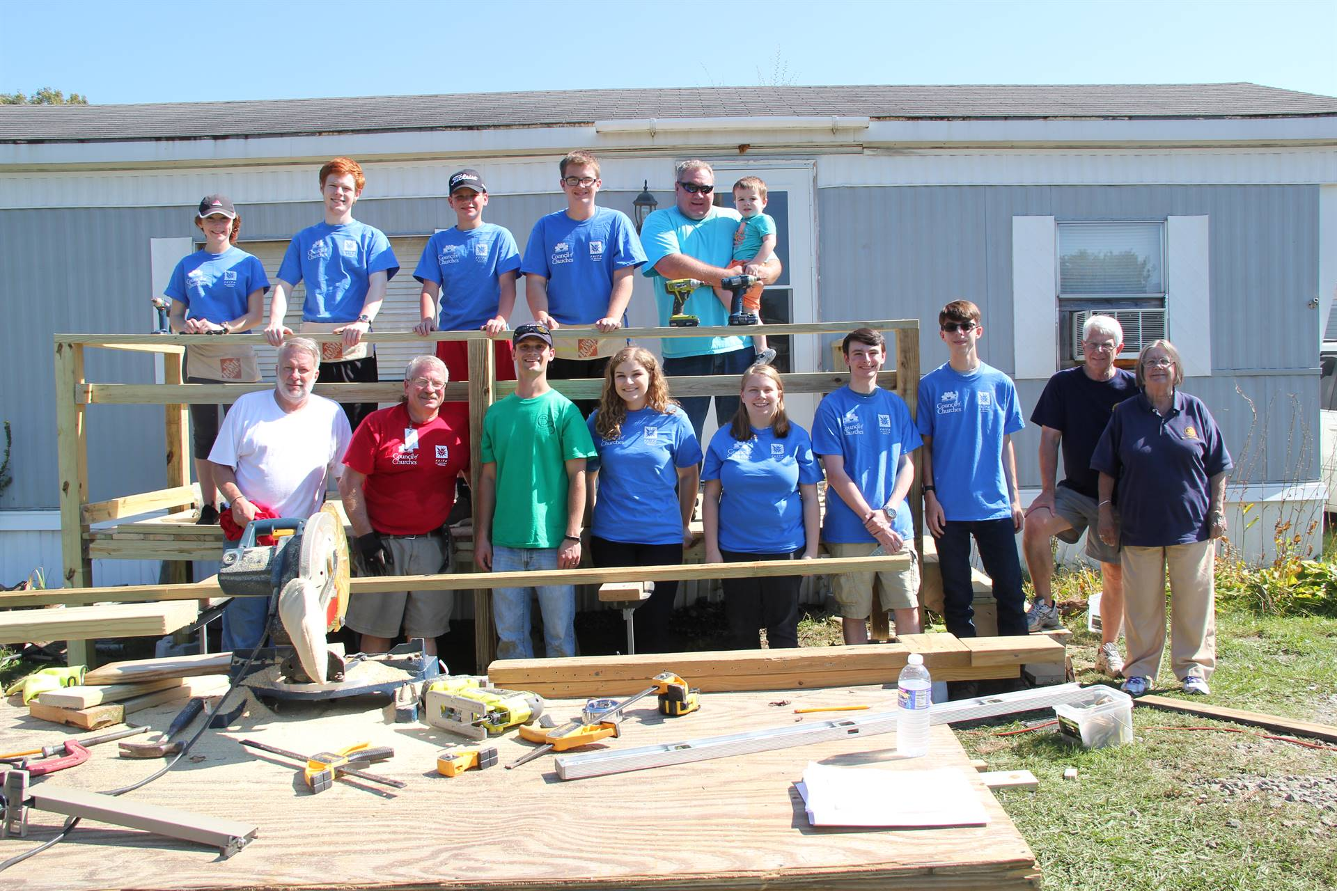 members of c v interact club hillcrest rotary and broome county council of churches at a ramp it up