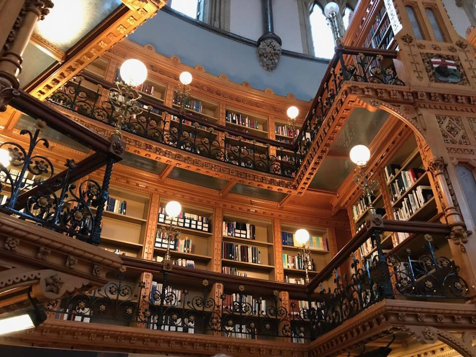 interior of large library with many books