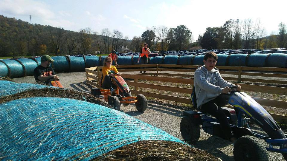 students on go carts