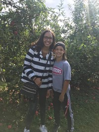 students at apple orchard