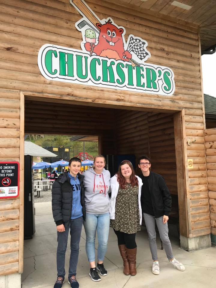 group of four students at chucksters