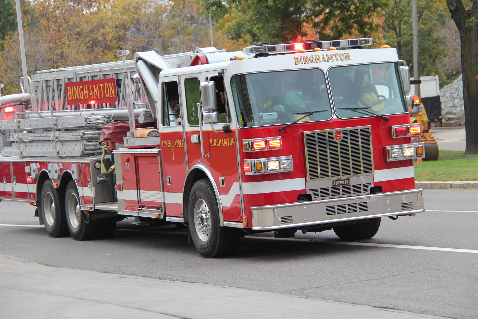 fire truck outside of binghamton fire department
