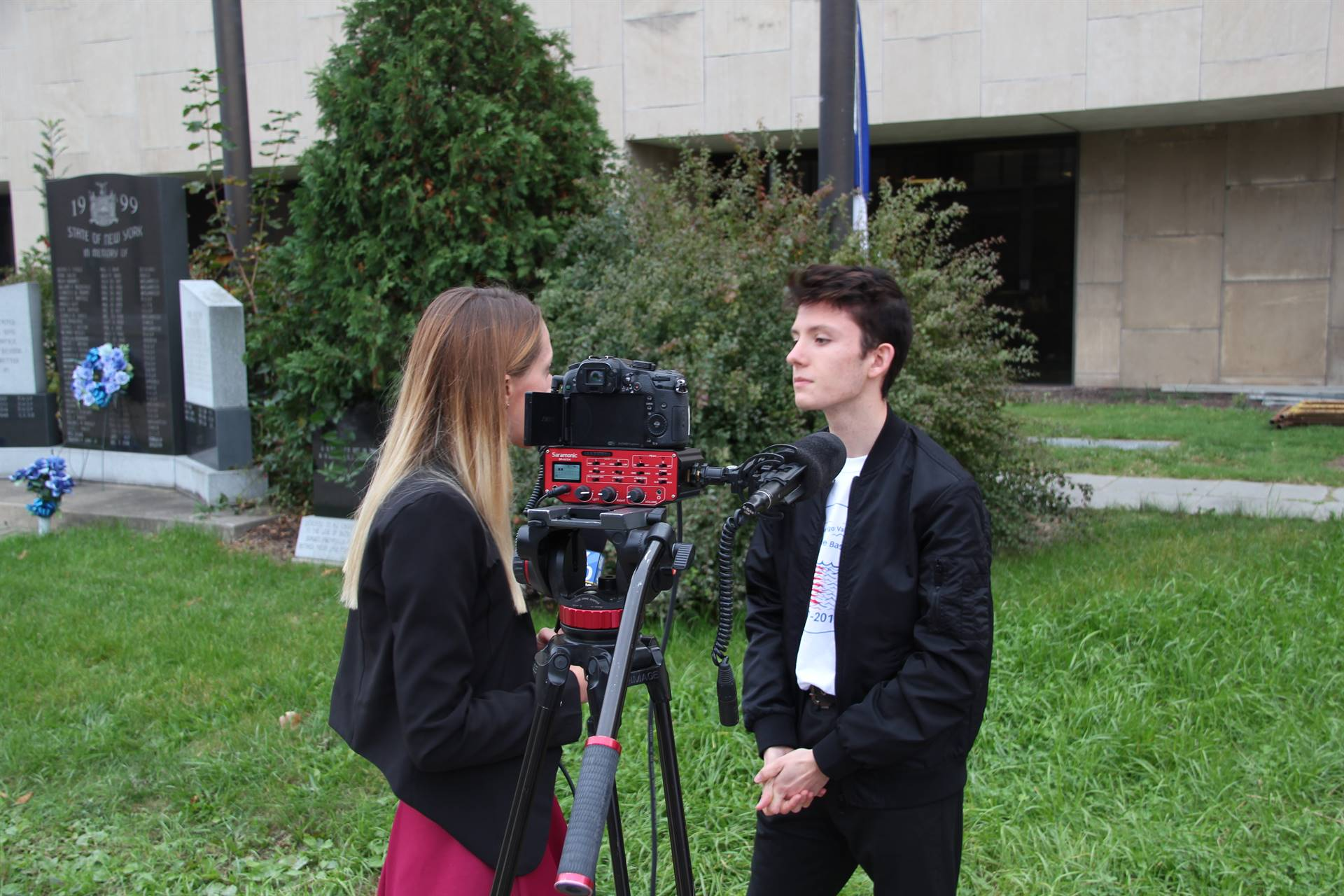 french student does interview with local media