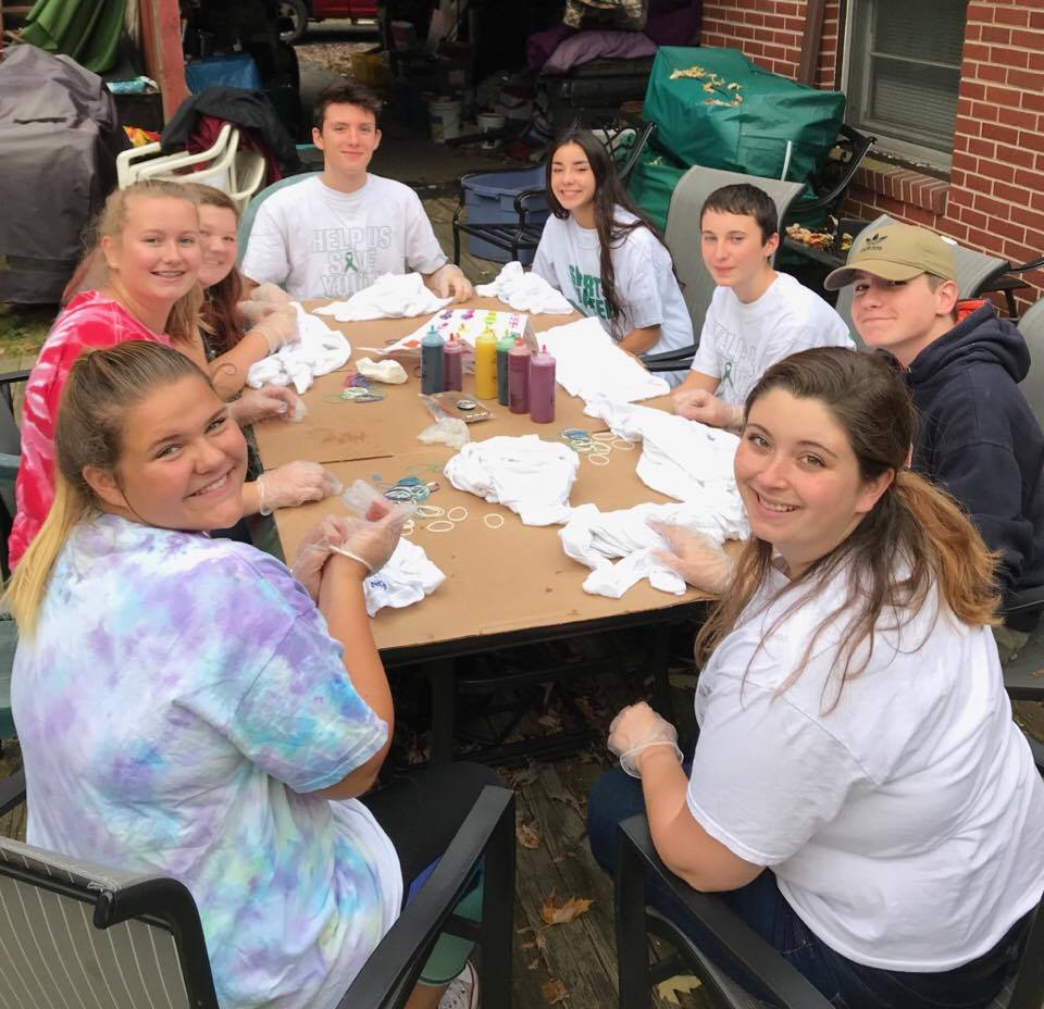 students at tie dye party