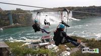 students zip line at niagra falls