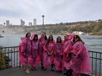 students in ponchos at niagra falls