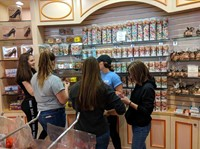 students inside of candy shop