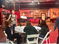 students inside of a production set
