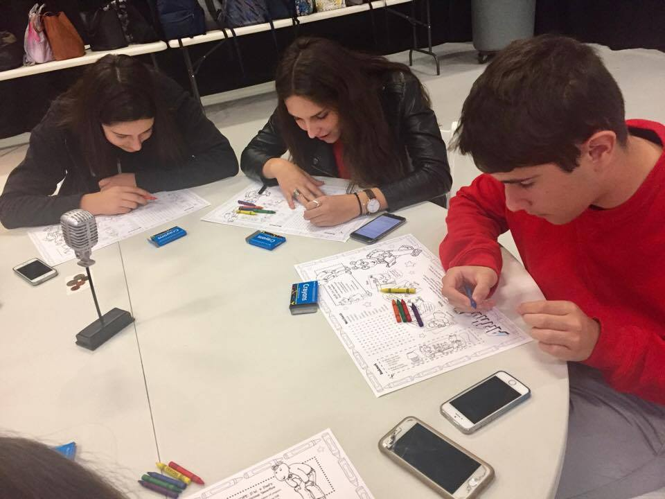 students coloring
