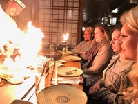 students at hibachi restaurant