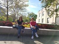 teachers sitting outside