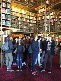 group of students inside library