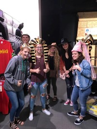 students in costume hats