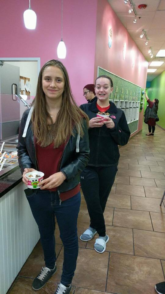 students smile at sweet frog