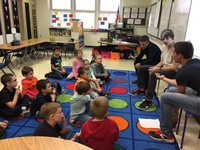 students talking to port dickinson elementary students