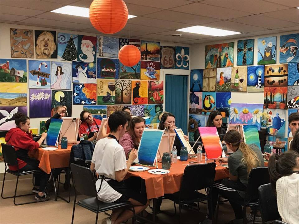 more students in painting class