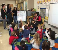 french exchange students answer questions in port dickinson elementary classroom