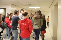 french exchange students touring halls of port dickinson elementary