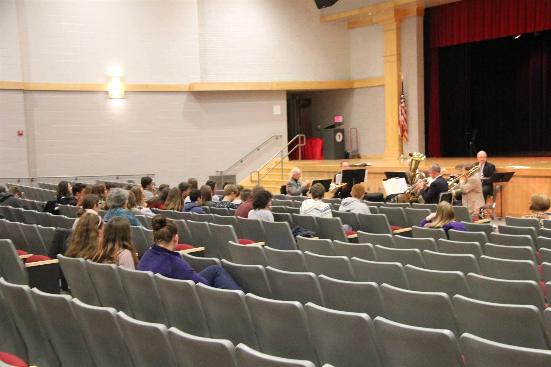 quintet performance in the auditorium