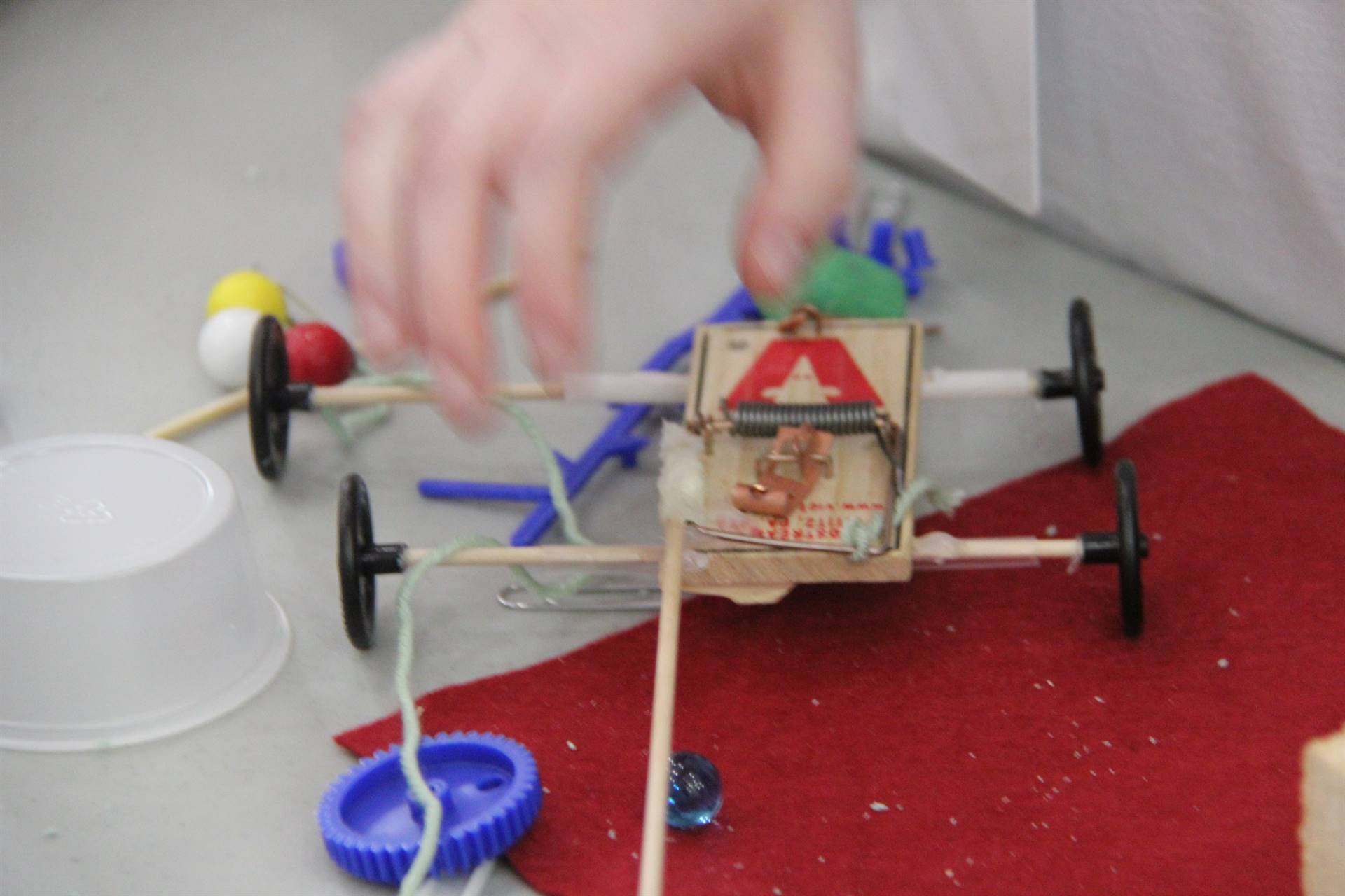 close up of creation from mouse trap at engineering day