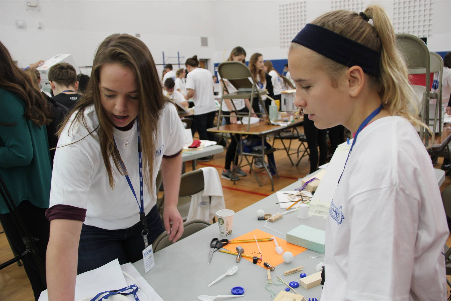two female students working on creation at engineering day
