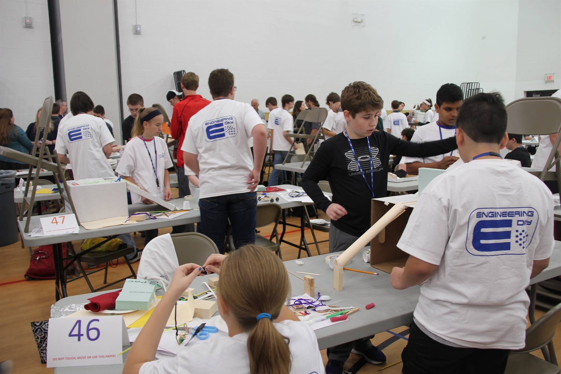 wide shot of students at work at engineering day