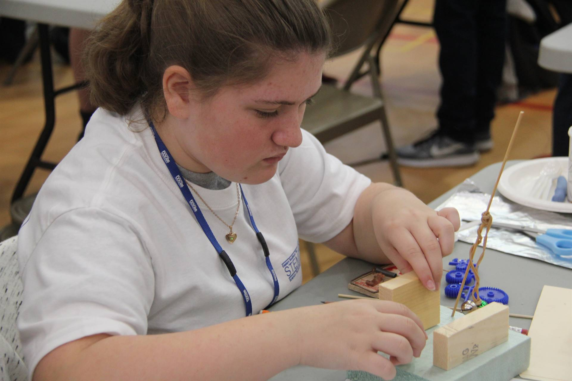 close up of student working on engineering day creation