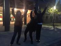 c v teachers waving goodbye to french exchange students