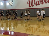 dance off during girls volleyball skit at pep rally