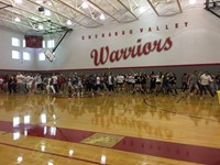 surprise flash mob performance during girls varsity soccer skit at pep rally