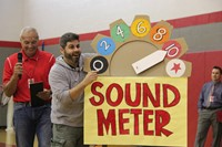 mister fitzsimmons controls the sound meter based on applause at high school pep rallys c v has tale