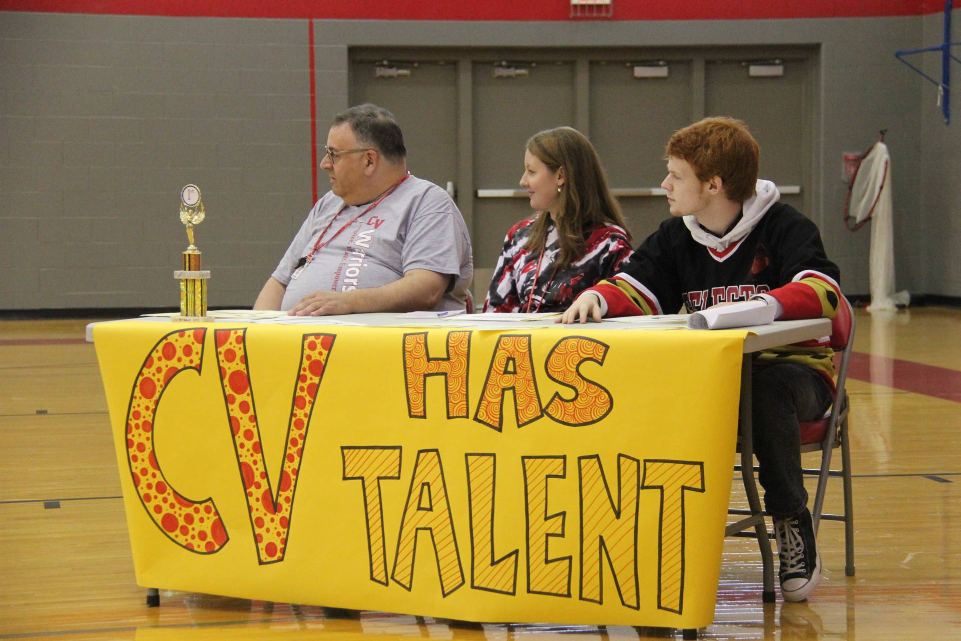 c v has talent judges watching at high school pep rally