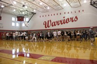 surprise dance mob during varsity girls soccers performance at pep rally