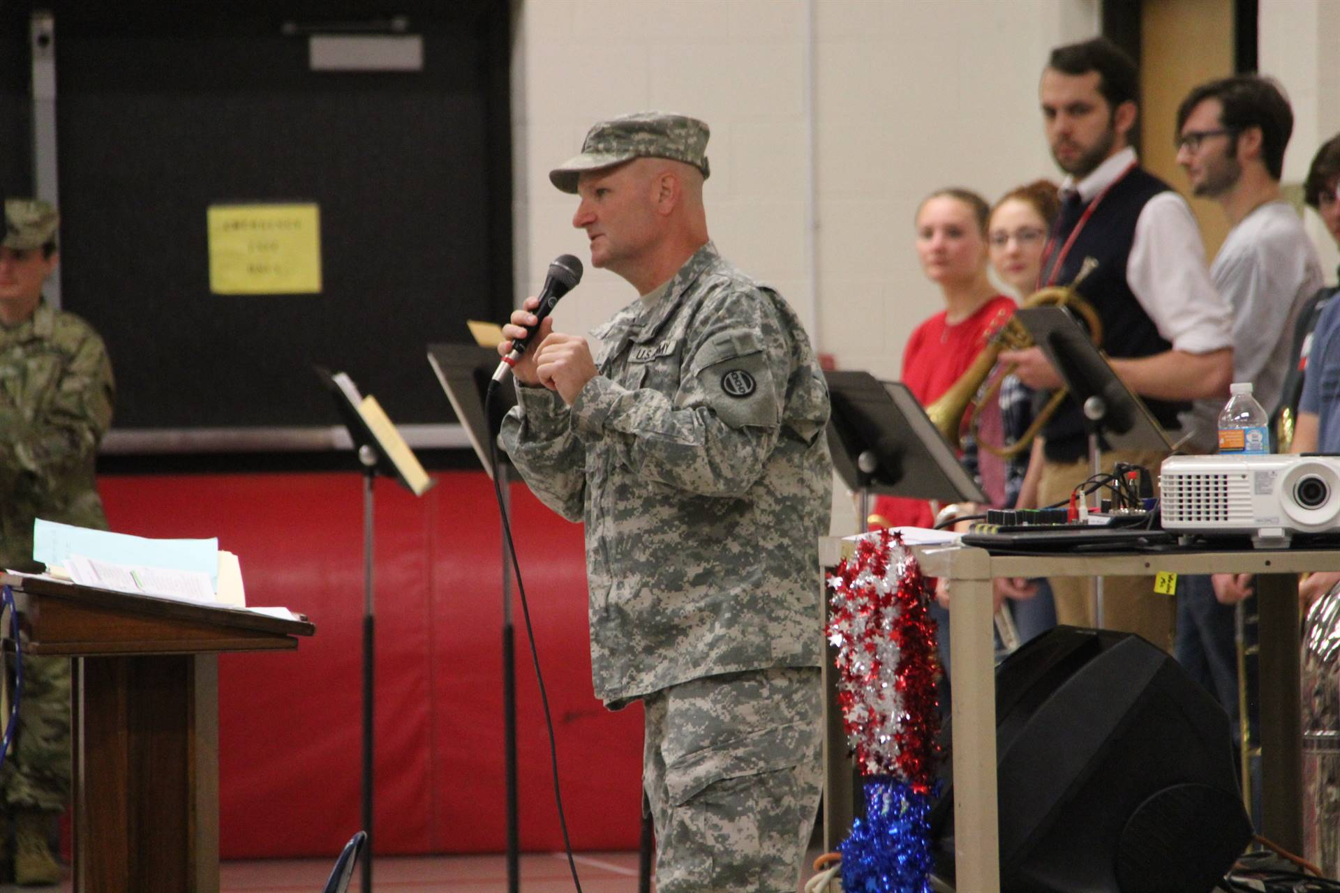 veteran speaking to assembly