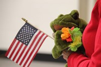 kelso the frog with american flag