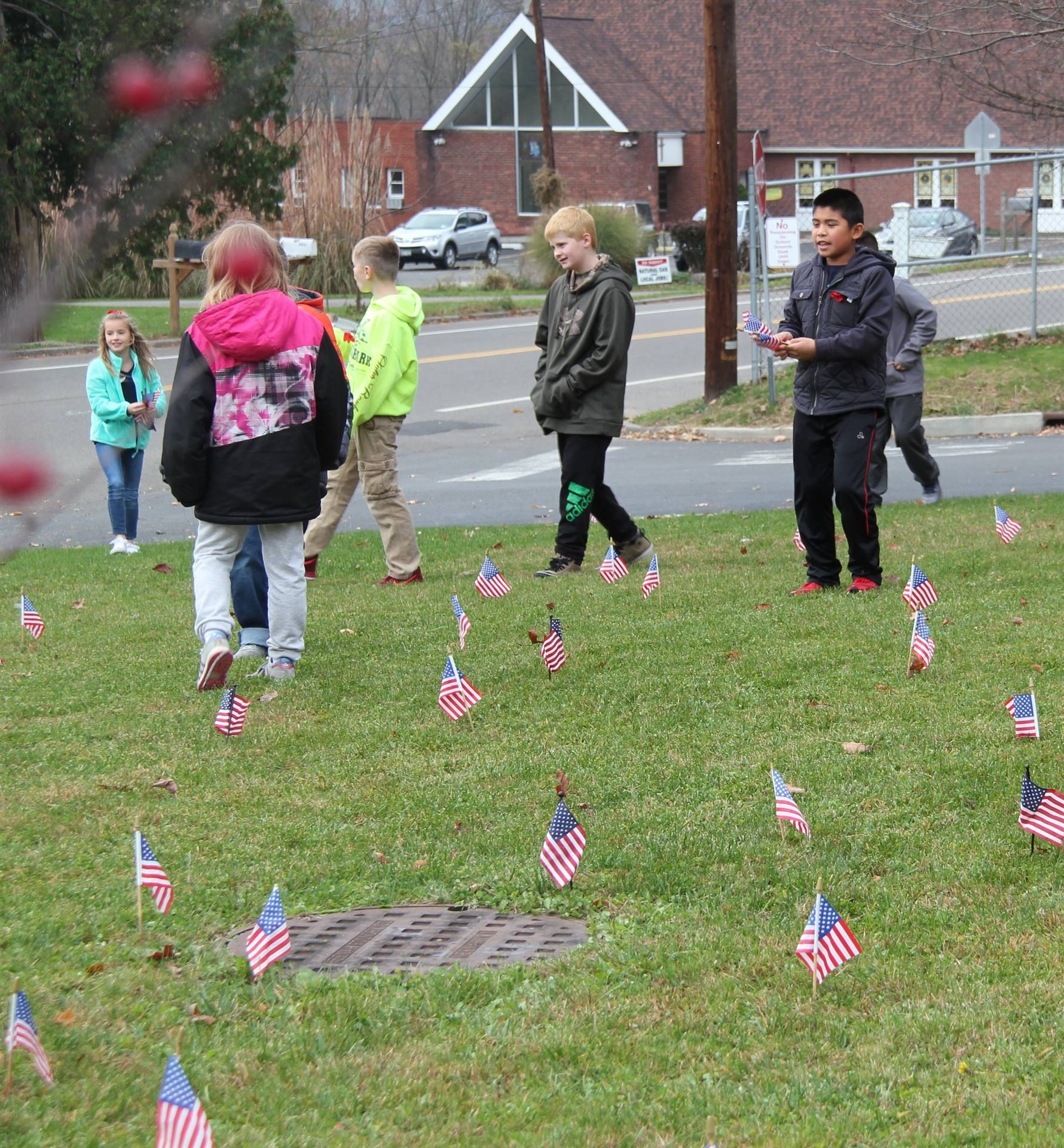 wide shot of students planting american flags in grass