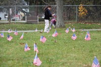 grass full of flags students planting more in background