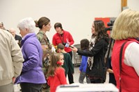 local media interviewing veteran and daughter
