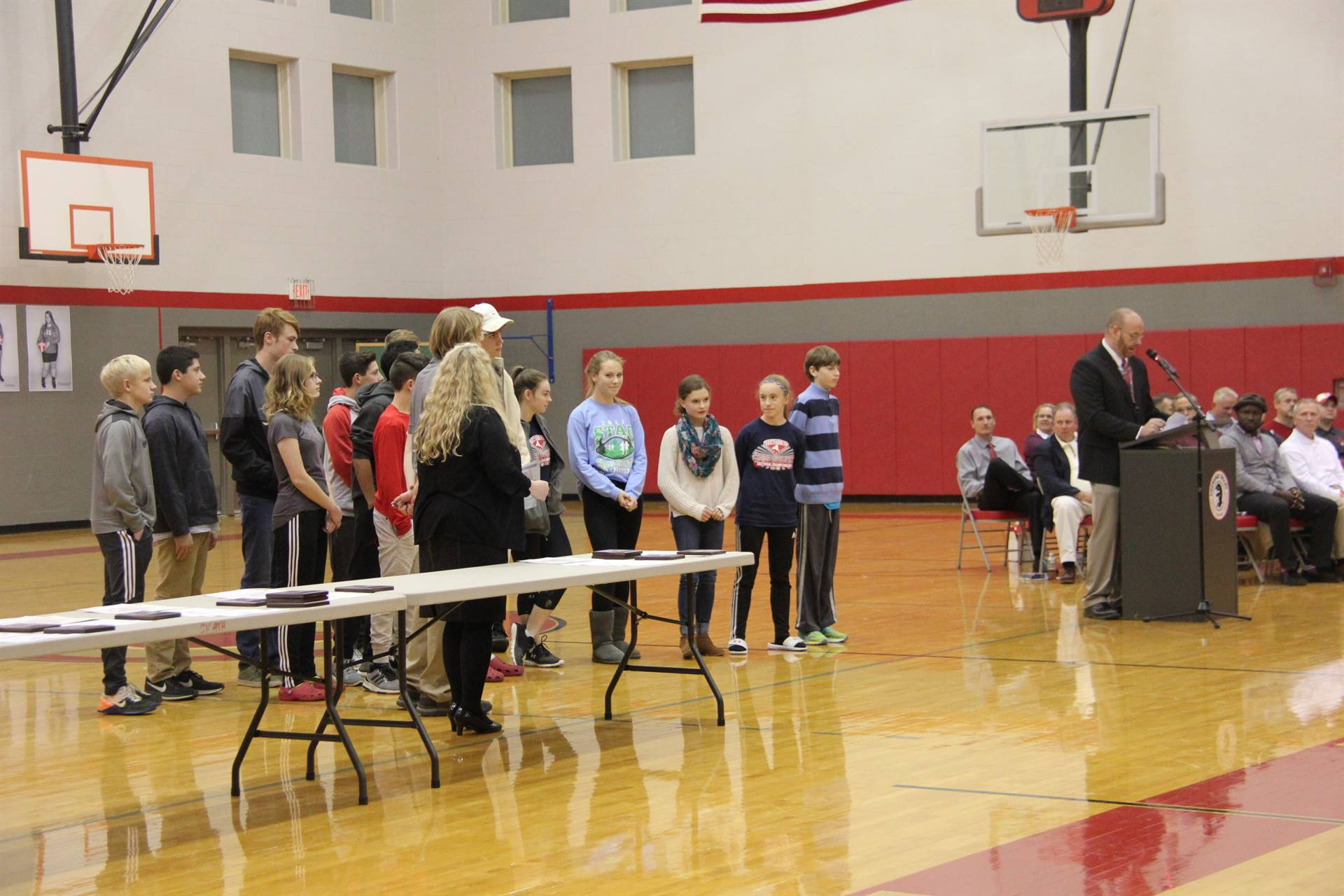 cross country team at fall sports awards